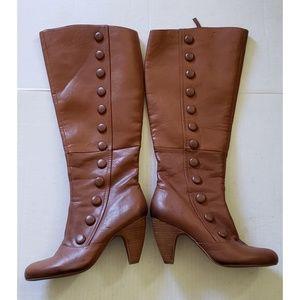 Crown Vintage Cognac Leather Knee High Boots